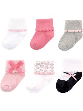 Luvable Friends Scalloped Roll Cuff Socks, 6-Pack (Baby Girls)