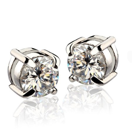White Mens Earring - Bling Men 8mm White Gold Plated CZ Earrings