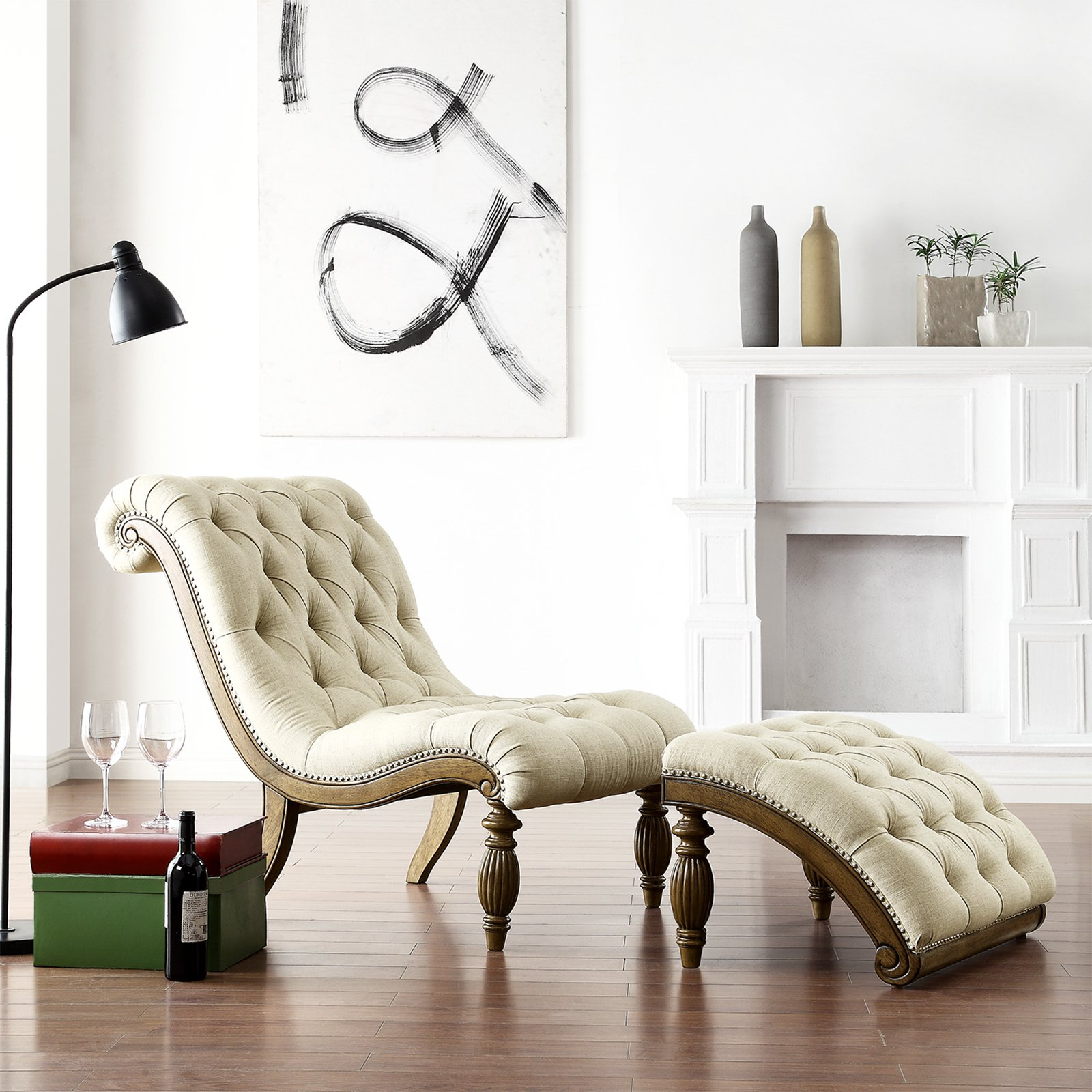 Weston Home Beige Linen Button Tufted Chaise and Ottoman - Light Distressed Driftwood