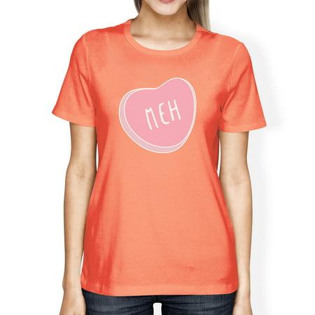 Meh Womens Peach T-shirt Lovely Heart Fun Gift Idea For Best Friend](Halloween Ideas For Two Best Friends)