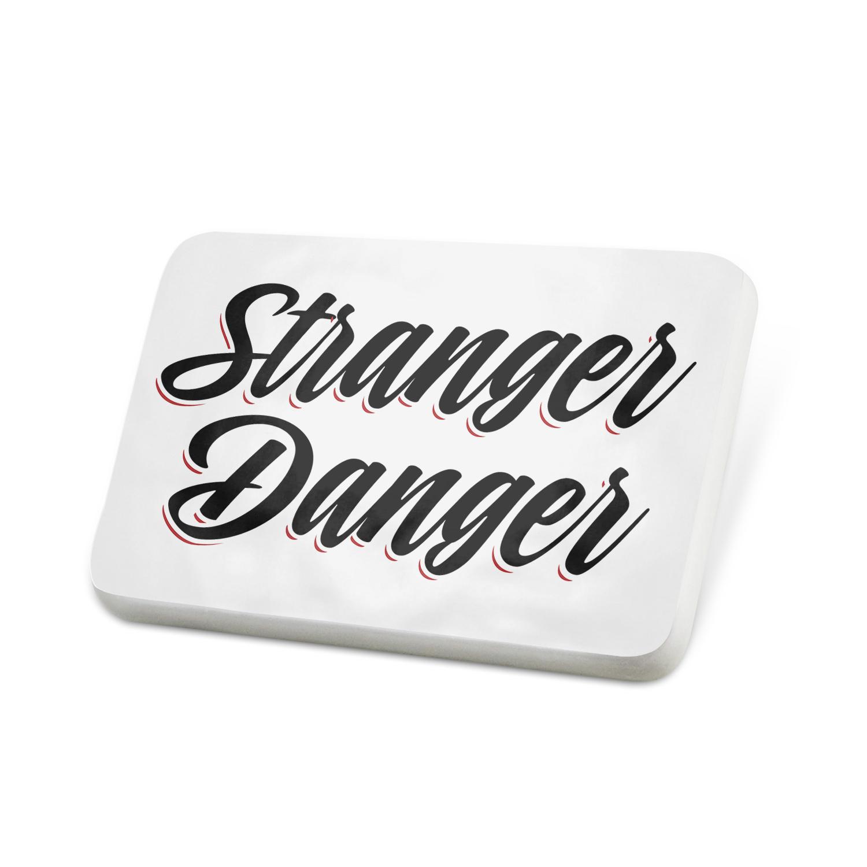 Porcelein Pin Vintage Lettering Stranger Danger Lapel Badge – NEONBLOND