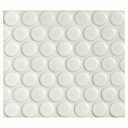 penny round tile arctic white porcelain mosaic matte (Round Mosaic)