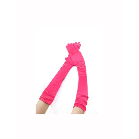 Unique Bargains Women's Stretchy Opera Length Full Finger Gloves Pair - Pink Skeleton Gloves