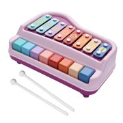Ametoys 2 In 1 Piano Xylophone Musical Instrument Toy With Mallets 8 Multicolored Key For Children Boys Girls