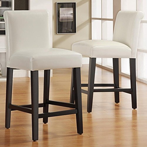 Bennett White Faux Leather 24 Inch Counter Height High Back Stools