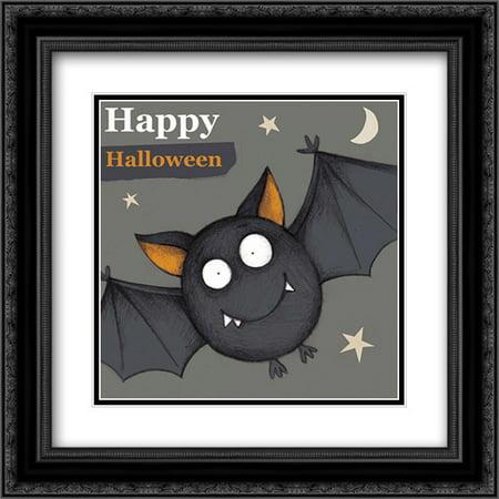 Happy Halloween Bat 2x Matted 20x20 Black Ornate Framed Art Print by P.S. Art - 1015 Halloween