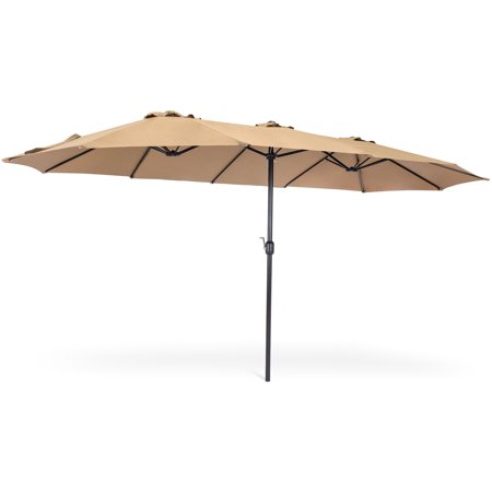 Best Choice Products 15x9ft Large Rectangular Outdoor Aluminum Twin Patio Market Umbrella w/ Crank, Wind Vents for Backyard, Patio, Lawn - Beige](U Is For Umbrella)
