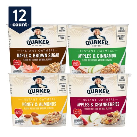 Quaker Instant Oatmeal Express Cups, Variety Pack, 12