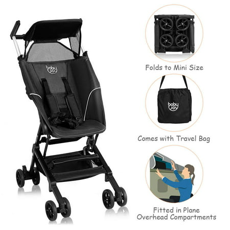 Costway Buggy Portable Pocket Compact Lightweight Stroller Easy Handling Folding