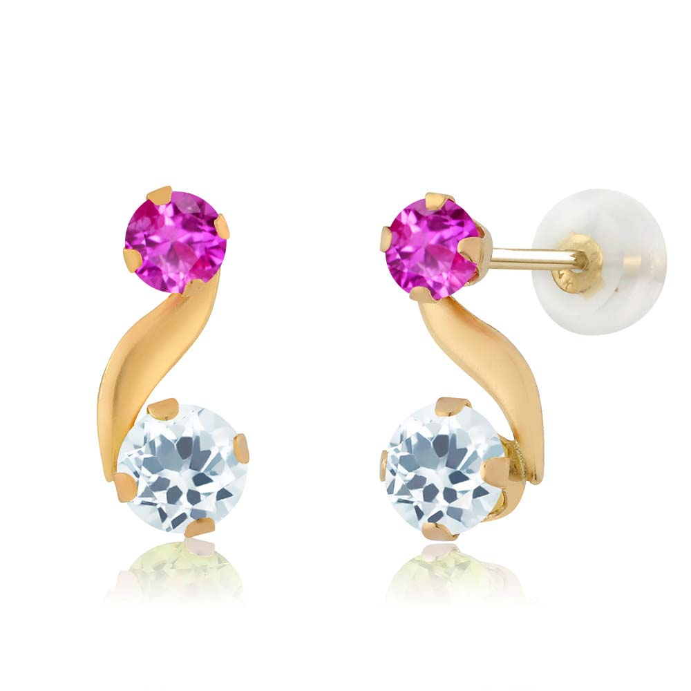 0.70 Ct Round Sky Blue Aquamarine Pink Sapphire 14K Yellow Gold Earrings by
