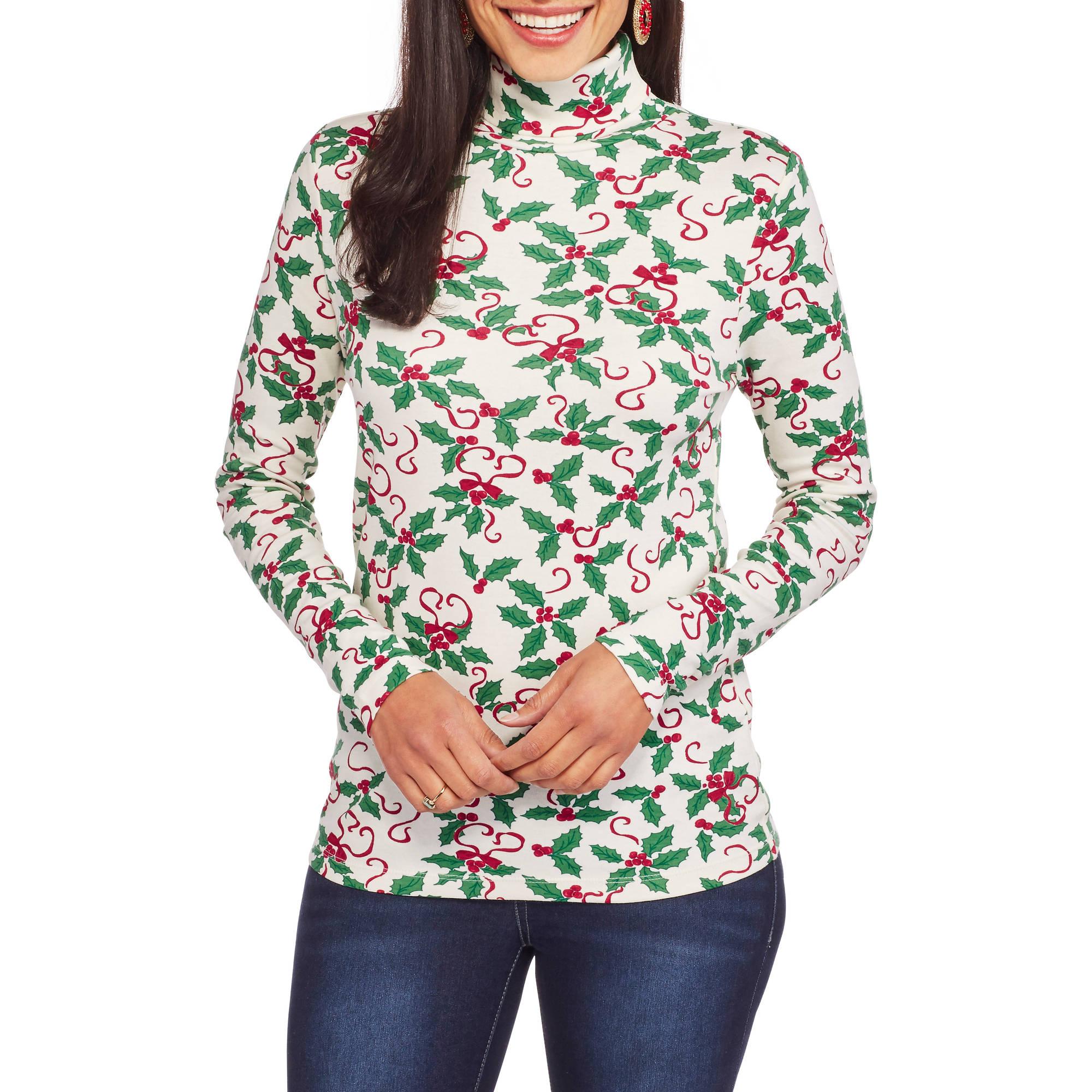 White Stag Women's Long Sleeve Festive Christmas Turtleneck T-Shirt