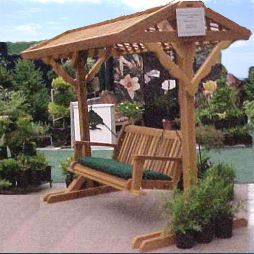 Wood Country Yardswing Cedar Stand with Roof & 4 Ft. Cabbage Hill Swing - Swing + Stand