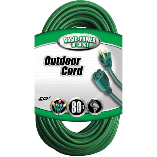 Coleman Cable 16/3 SJTW Outdoor 80' Vinyl Extension Cord, Green
