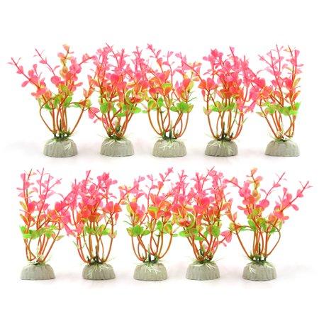 10pcs Pink Plastic Flower Grass Plants for Aquarium Fish Tank Landscape w Base - image 3 of 3