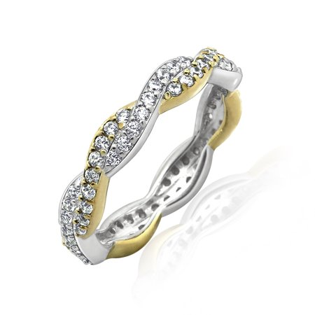 Sterling and 14K Clad Cubic Zirconia Two-Tone Twist Eternity Band Ring, Size 8