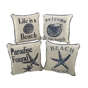 Set of 4 Nautical Seashell Beach Themed Accent Pillows