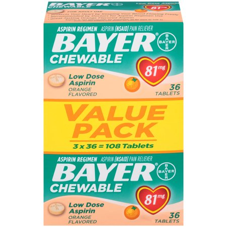 Msm Chewable Aspirin - Bayer Chewable Aspirin Regimen Low Dose Pain Reliever Tablets, 81mg, Orange, 108 Ct
