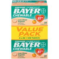 Bayer Chewable Aspirin Regimen Low Dose Pain Reliever Tablets, 81mg, Orange, 108 Ct