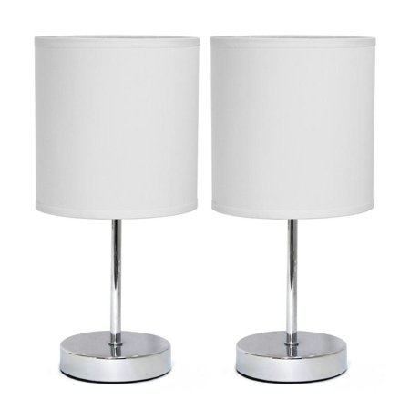 Simple Designs Chrome Mini Basic Table Lamp with Fabric Shade 2 Pack Set (End Table Lamp Sets)
