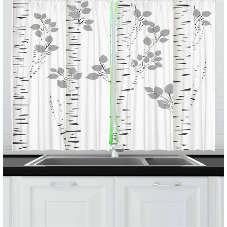 Birch Tree Curtains (Birch Tree Curtains 2 Panels Set, Artistic White Branches with Leaves Autumn Nature Forest Inspired Image Print, Window Drapes for Living Room Bedroom, 55W X 39L Inches, Grey White, by)