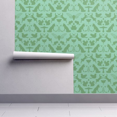 Removable Water-Activated Wallpaper Woodland Woodland Damask Green Wolf Bird for $<!---->