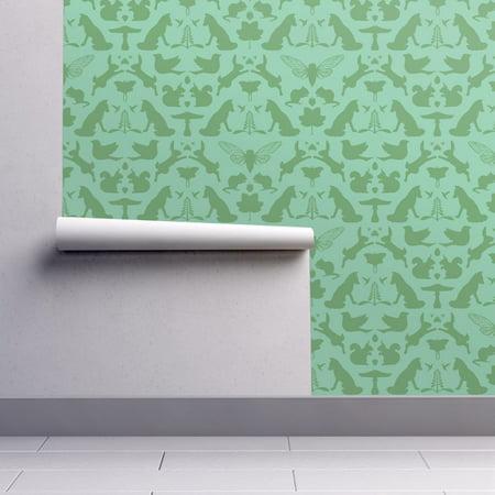 Removable Water-Activated Wallpaper Woodland Woodland Damask Green Wolf Bird](Halloween Wolf Wallpaper)