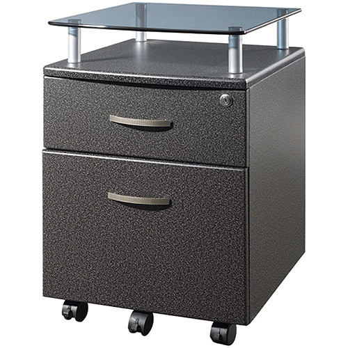 Techni Mobili Rolling File Cabinet with Glass Shelf, Multiple Finishes