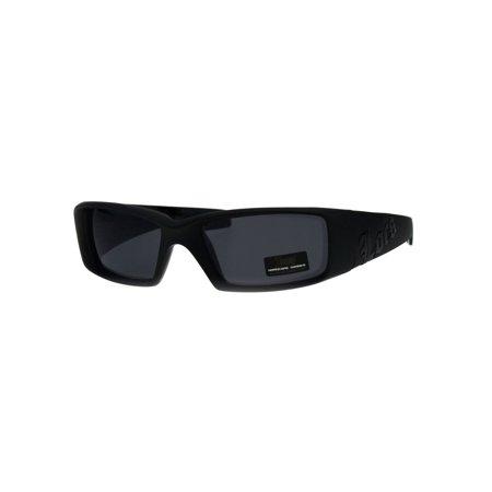 Locs Classic 90s Cholo Gangster Narrow Rectangular All Black Warp Sunglasses - Gangsta Sunglasses