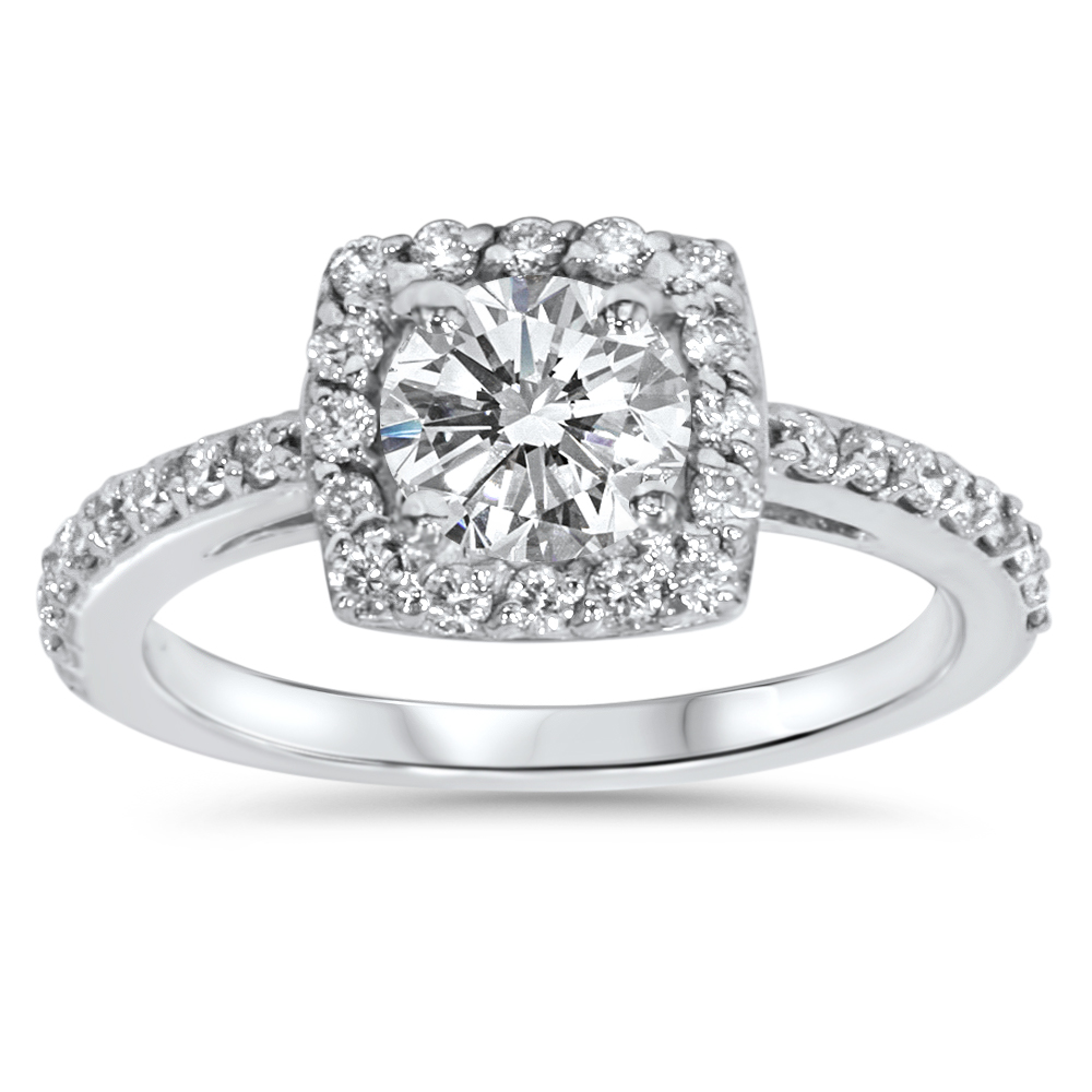 Cushion Halo Diamond Engagement Ring 3/4 ct Solitaire Brilliant Cut White Gold