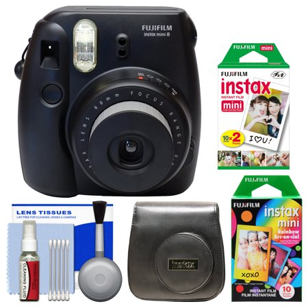 Fujifilm Instax Mini 8 Instant Film Camera (Black) with 20 Twin & 10 Rainbow Prints + Case + Kit