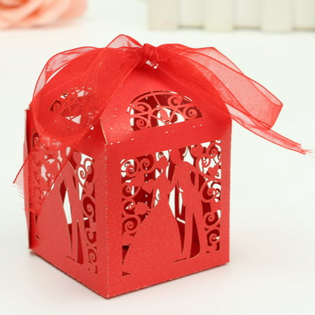 Ribbon Wedding Favor Decor - 12Pcs Laser Cut Paper Ribbon Sweets Candy Boxes Wedding Party Favors Gift Bag,Red color