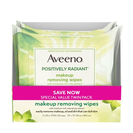 2 Pack, Aveeno Positively Radiant Makeup Removing Wipes, 25 ct ()
