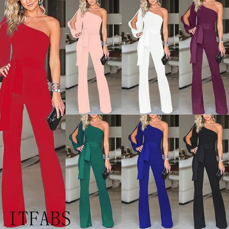 Hot Sale Women Summer Clubwear Playsuit Jumpsuit Solid One Shoulder Long Trousers Pants](Big Lebowski Purple Jumpsuit)