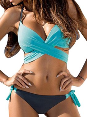Juniors' Swimsuit Bandeau Push Up Padded Swimwear Two Piece Bikini Set Bathing Suit Solid Color
