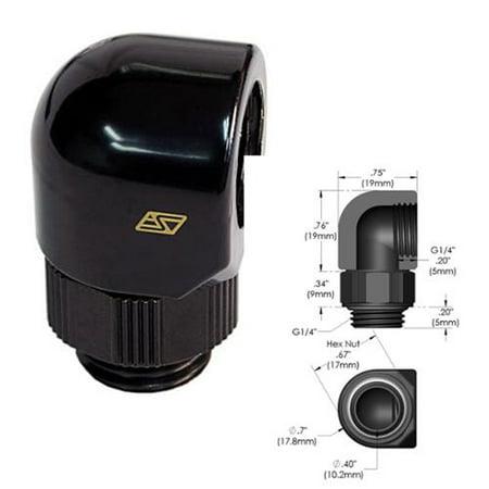Swiftech 90D-SWV-G1-4-MFA-BK 90 Swivel Elbow Lok-Seal adapter