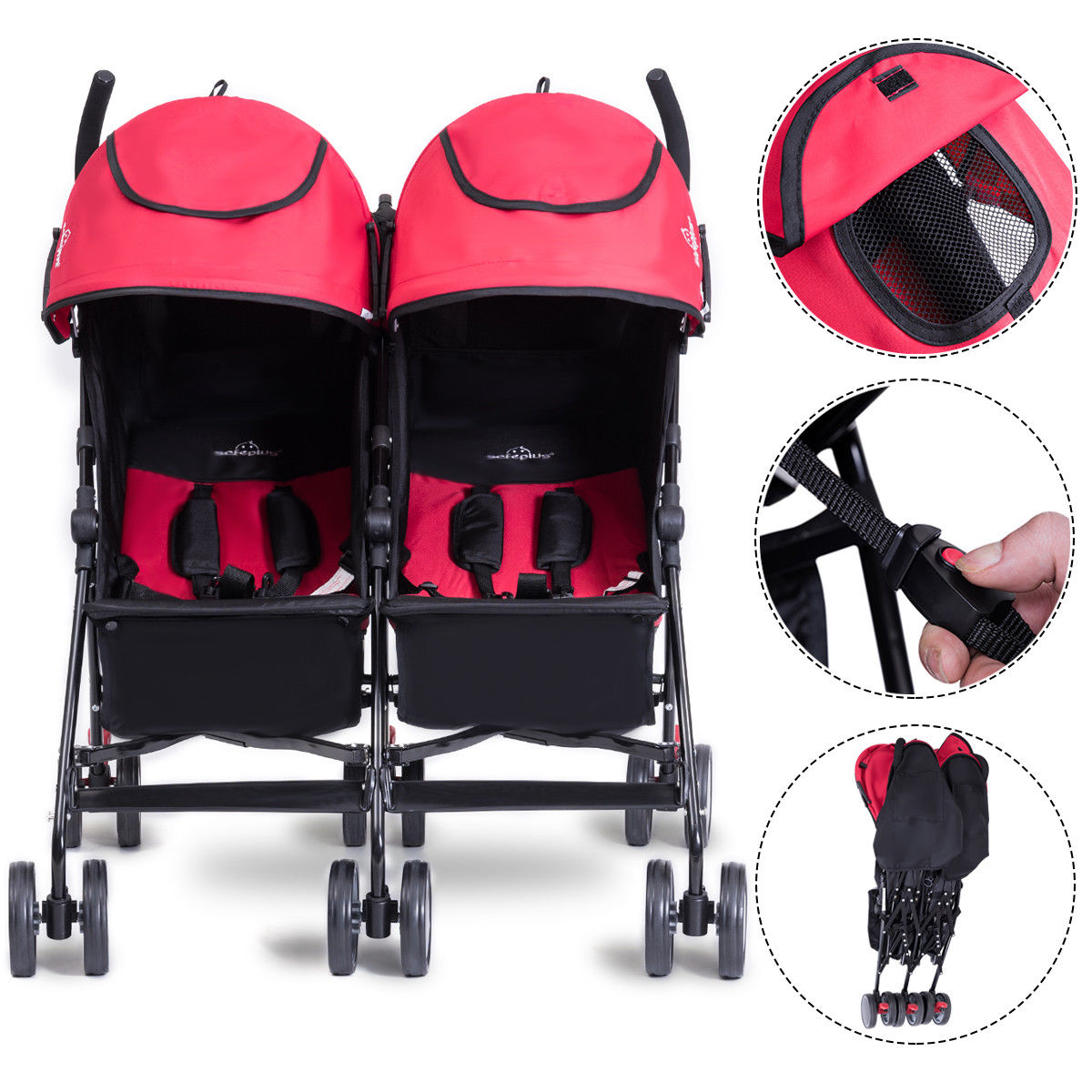 SafePlus Foldable Twin Baby Double Stroller Kids Jogger Travel Infant Pushchair Gray,Red