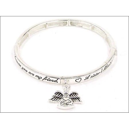 Silver-tone Angel Sisters Blessing  Angel Charm Bracelet with Bookmark by Jewelry - Blessing Bracelet