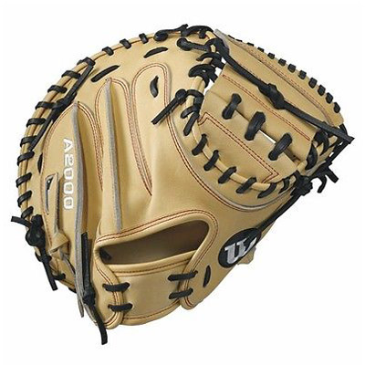 Wilson A2000 CM33 Baseball Catchers Mitt, 33in, Blonde Red Stitching, Right Hand Throw 33.00in by Wilson Sporting Goods