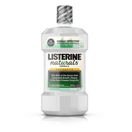 Listerine Naturals Antiseptic Mouthwash, Fluoride-Free, Mint, 1 L ()