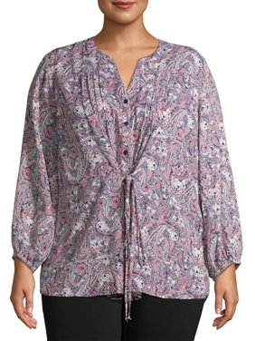 Terra & Sky Women's Plus Size Long Sleeve V-Neck Printed Top with Cinched Waist