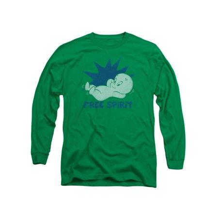 Casper The Friendly Ghost Casper Free Spirit Faded Retro Adult L-Sleeve T-Shirt ()