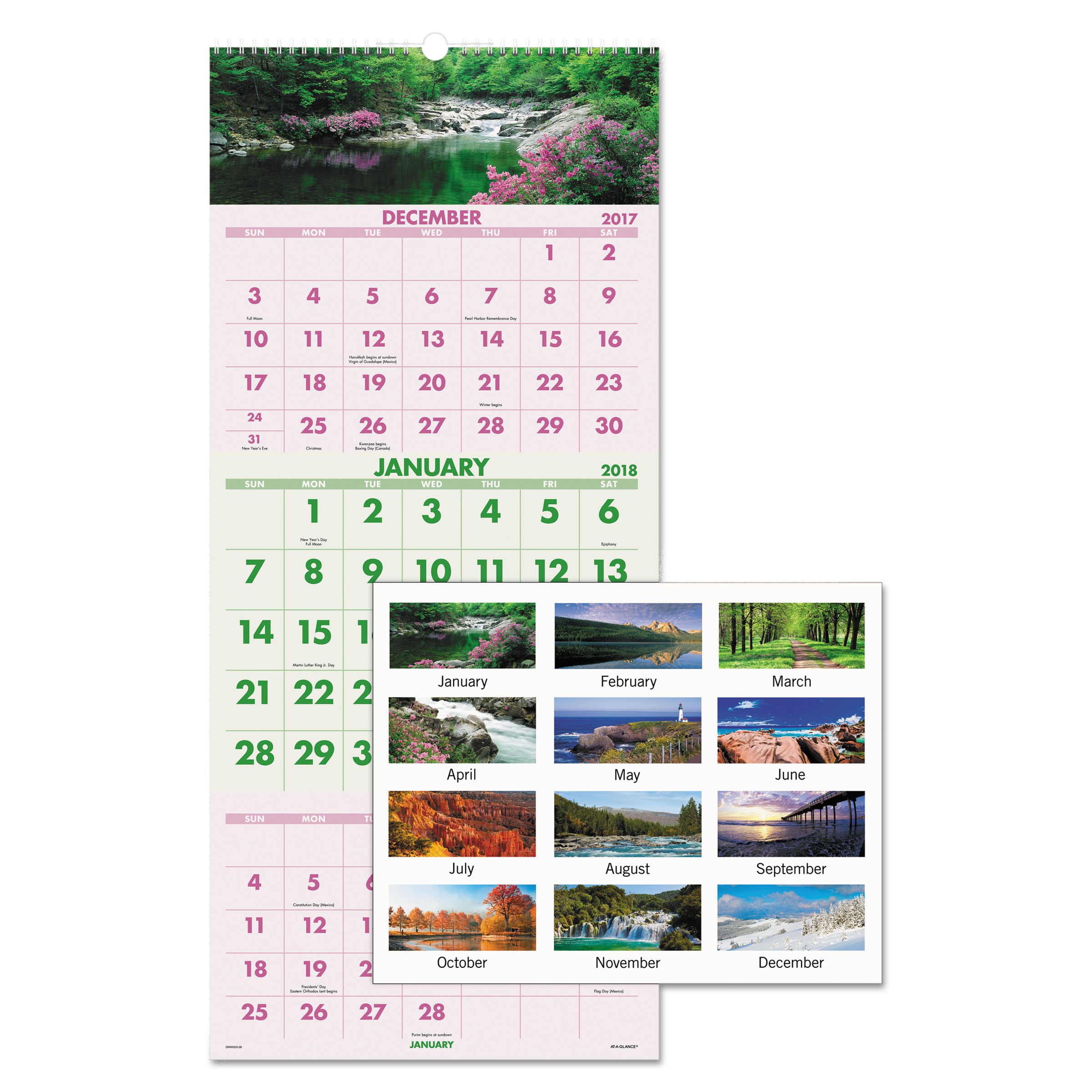 AT-A-GLANCE Scenic Three-Month Wall Calendar, 12 x 27, 2017-2019
