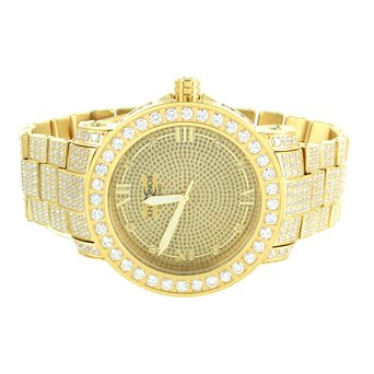 New 14k Gold Finish Versatile Look Genuine Diamond Stainless Steel Khronos Watch