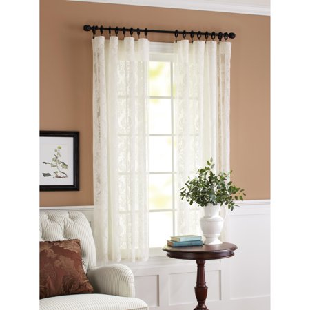 Lace Panel Mini - Better Homes & Gardens Lace Damask Curtain Panel, Cream