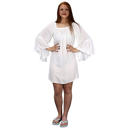 Peach Couture Shoulder Flutter Sleeve Beach Cover Ups - image 1 of 1