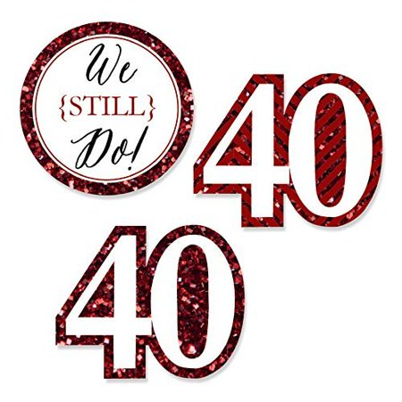 We Still Do - 40th Wedding Anniversary - DIY Shaped Party Cut-Outs - 24 Count (40th Anniversary Invitations)