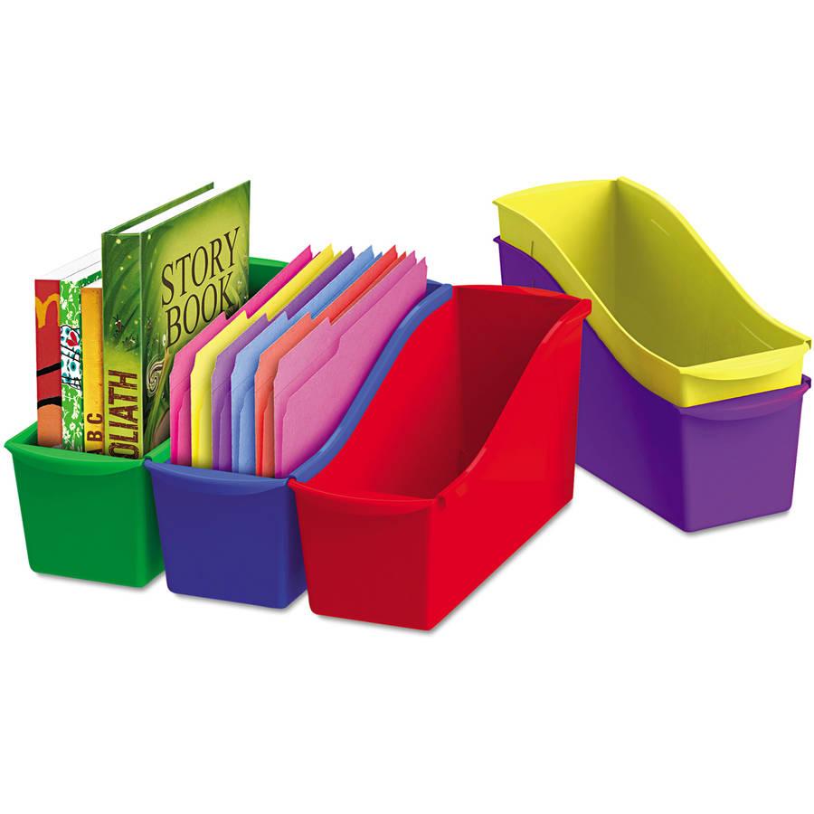 "Storex Interlocking Book Bins, 4-3/4"" x 12-5/8"" x 7"", 5 Color Set, Plastic"