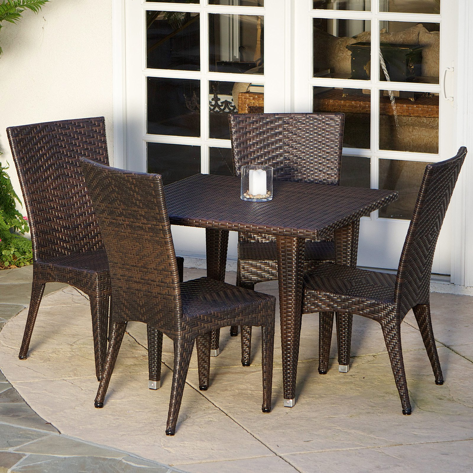 Brooke All-Weather Wicker Patio Dining Room Set Seats 4 by Best Selling Home Decor Furniture LLC