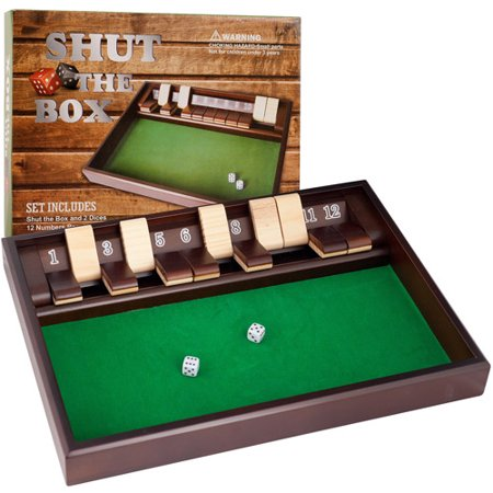 Shut the Box Game with 12 Numbers and - Dice Rolling Box