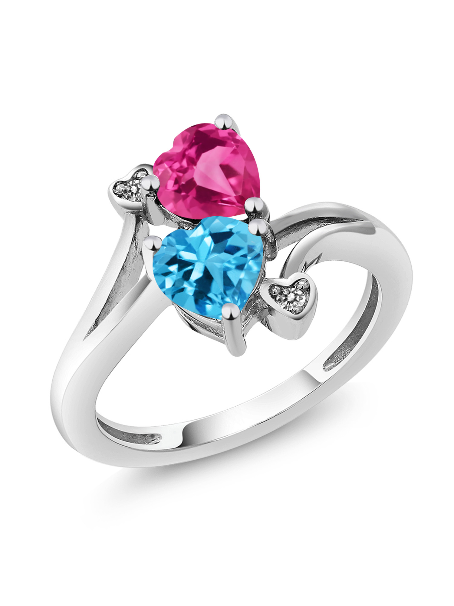 1.78 Ct Heart Shape Swiss Blue Topaz Pink Created Sapphire 10K White Gold Ring by